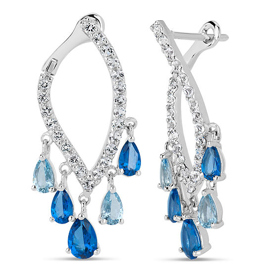 Sterling Silver Blue and White Marquis Drop Earrings featuring Swarovski Genuine Gemstones