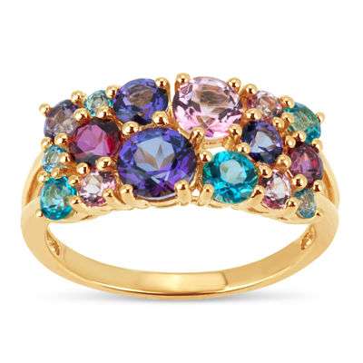 18K Gold over Silver Multi Color Topaz Cluster Ring featuring Swarovski Genuine Gemstones