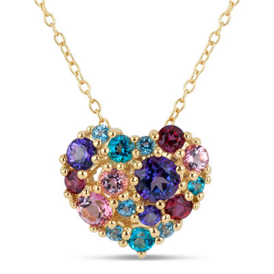 18K Gold over Silver Multi Color Topaz Heart Cluster Pendant Necklace featuring Swarovski Genuine Gemstones
