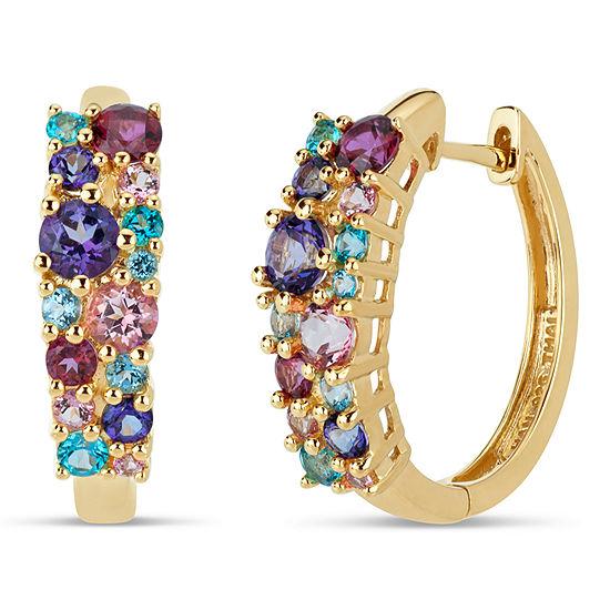 18K Gold over Silver Multi Color Topaz Cluster Hoop Earrings featuring Swarovski Genuine Gemstones