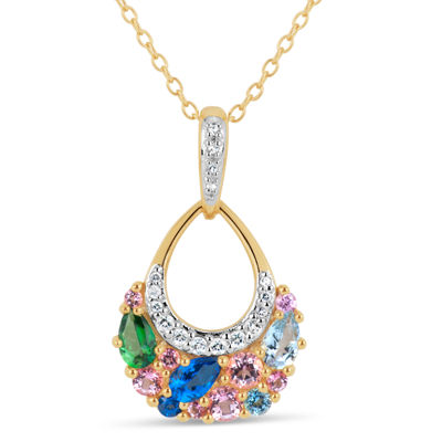 18K Gold over Silver Multi Color Topaz Cluster Pendant Necklace featuring Swarovski Genuine Gemstones