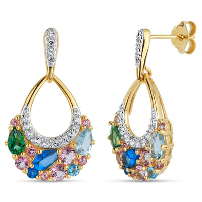 18K Gold over Silver Multi Color Topaz Cluster Drop Earrings featuring Swarovski Genuine Gemstones