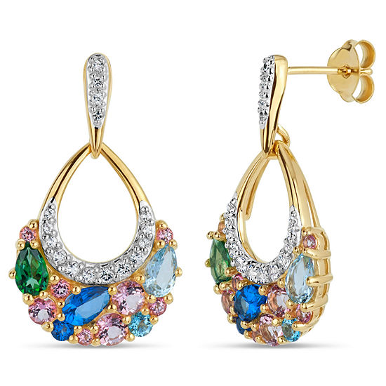 18K Gold over Silver Multi Color Topaz Cluster Drop Earrings featuring Swarovski Genuine Gemstones