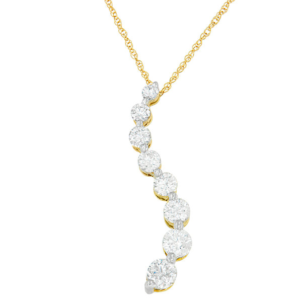 Womens 3 CT. T.W. White Diamond 14K Gold Pendant Necklace