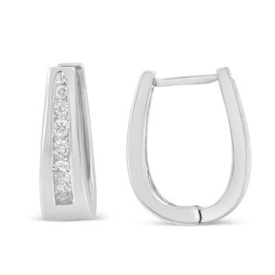 1/2 CT. T.W. GENUINE White Diamond 14K Gold Hoop Earrings