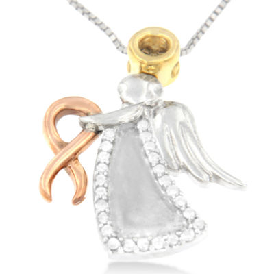 Womens 1 CT. T.W. White Diamond 10K Gold Over Silver Pendant Necklace