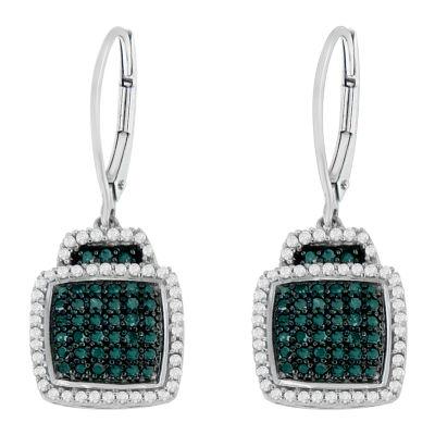 3/4 CT. T.W. Blue Diamond Sterling Silver Drop Earrings