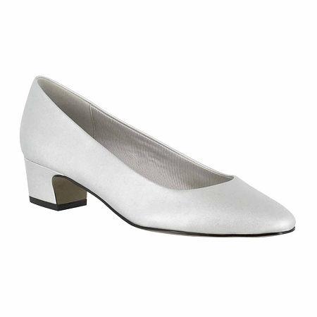 Retro Vintage Flats and Low Heel Shoes Easy Street Womens Prim Pumps Block Heel 8 12 Medium Silver $41.24 AT vintagedancer.com