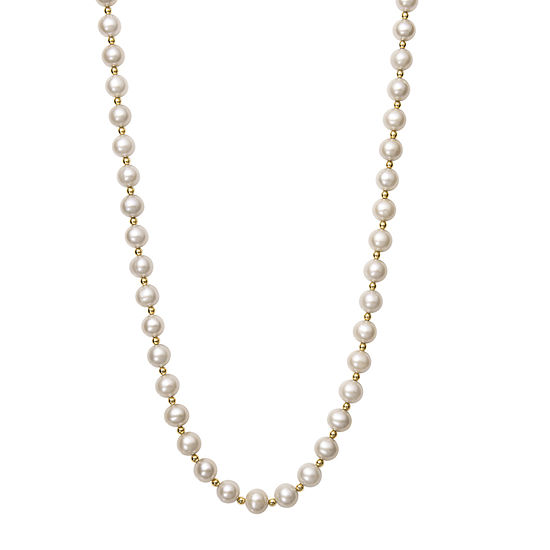 Womens 7MM White Cultured Freshwater Pearl 14K Gold Strand Necklace