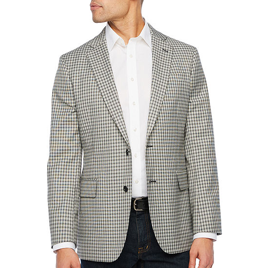 Stafford Year Round Stretch Black and White Checked Classic Fit Sport Coat - Big and Tall