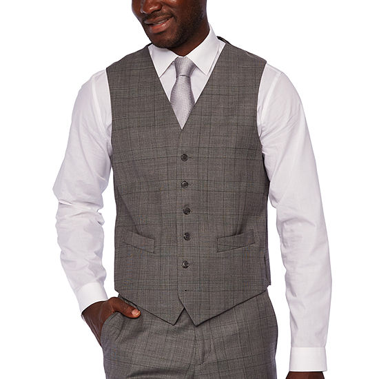 Stafford - Big and Tall Checked Classic Fit Stretch Suit Vest