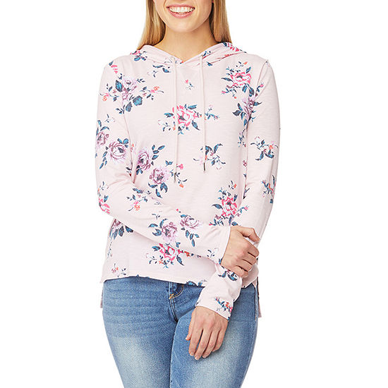 Wallflower Womens Long Sleeve Slubbed Hoodie-Juniors