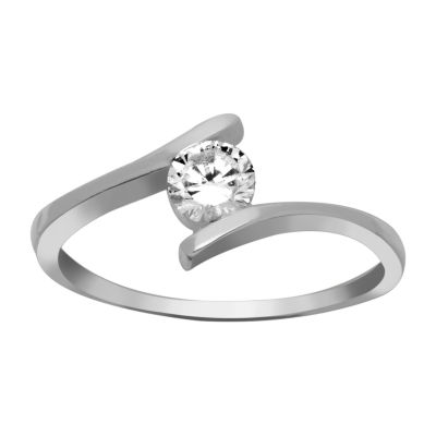 Silver Treasures Womens Cubic Zirconia Sterling Silver Engagement Ring