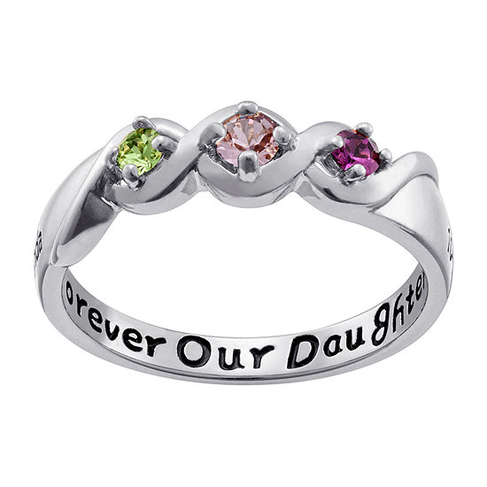 Personalized Womens Multi Color Crystal Sterling Silver 3-Stone Cocktail Ring