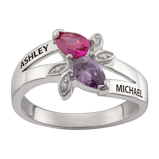 Personalized Womens Diamond Accent Multi Color Cubic Zirconia Sterling Silver Cocktail Ring