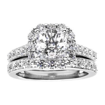 100 Facets by DiamonArt® 3.11 CT. T.W. Cubic Zirconia Halo Bridal Set