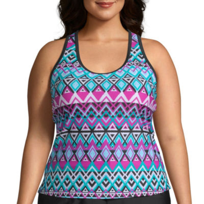 Zeroxposur Geometric Tankini Swimsuit Top-Plus