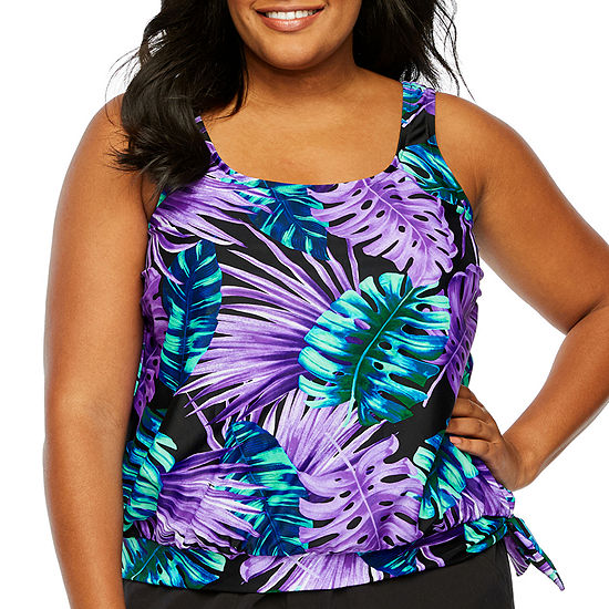 Azul by Maxine of Hollywood Leaf Blouson Swimsuit Top-Plus