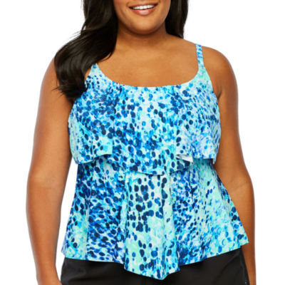 Azul by Maxine of Hollywood Confetti Tankini Swimsuit Top-Plus