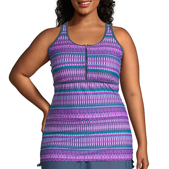 Free Country Striped Tankini Swimsuit Top-Plus