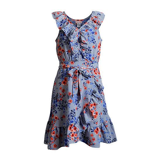 Emily West Girls Sleeveless Wrap Dress - Big Kid