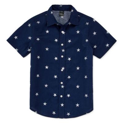 City Streets Boys Short Sleeve Button-Front Shirt Preschool / Big Kid