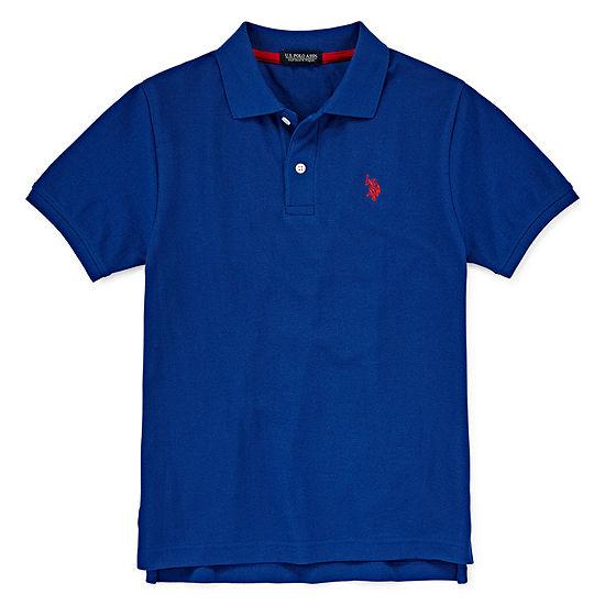 U.S. Polo Assn. Boys Spread Collar Short Sleeve Embroidered Polo Shirt Preschool / Big Kid