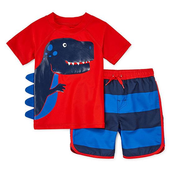 Okie Dokie Toddler Striped Rash Guard Set