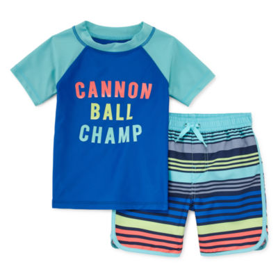 Okie Dokie Striped Rash Guard Set - Toddler