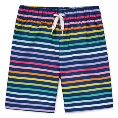 City Streets Boys Striped Swim Trunks-Toddler