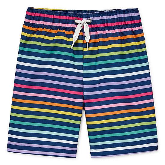 City Streets Boys Striped Swim Trunks-Toddler