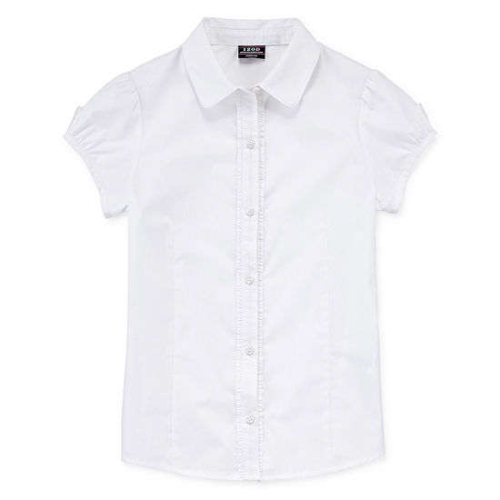 Izod Exclusive Girls Short Sleeve Button-Front Shirt