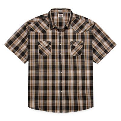 Ely Cattleman Mens Short Sleeve Snap  Western Shirt - Tall