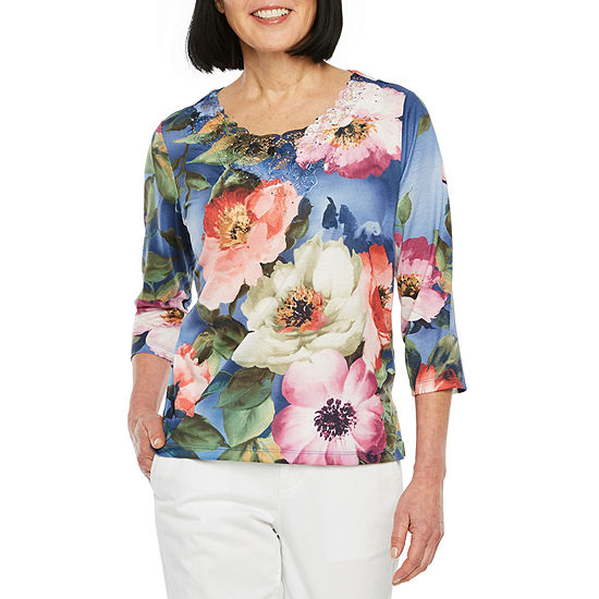 Alfred Dunner Petite Classic Tee'S-Womens Crew Neck 3/4 Sleeve T-Shirt