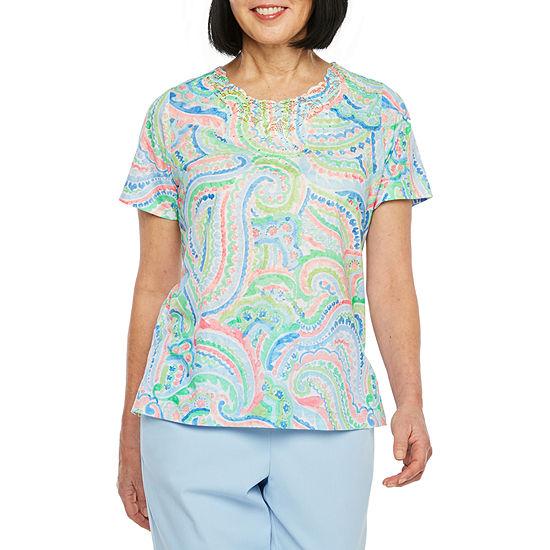 Alfred Dunner-Womens Round Neck Short Sleeve T-Shirt