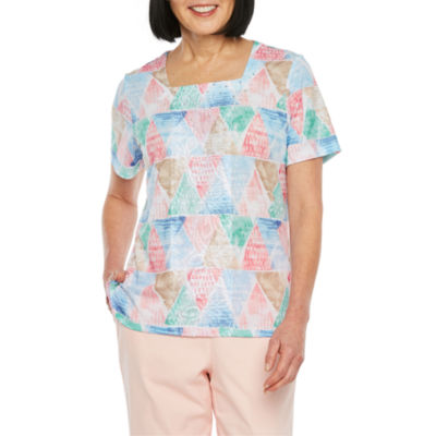 Alfred Dunner-Womens Square Neck Short Sleeve T-Shirt