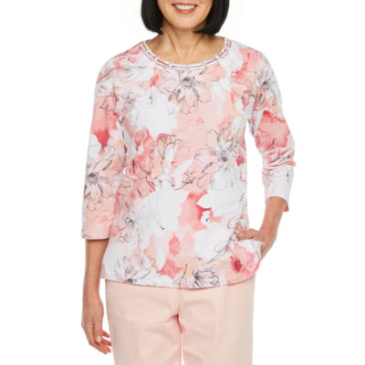 Alfred Dunner-Womens Round Neck 3/4 Sleeve T-Shirt