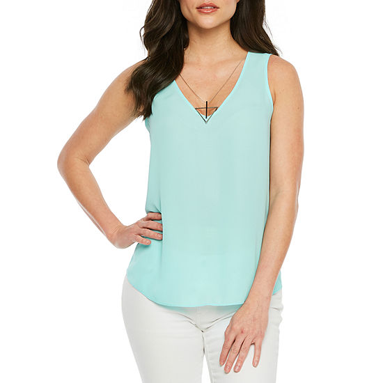 Bold Elements Womens V Neck Sleeveless Blouse