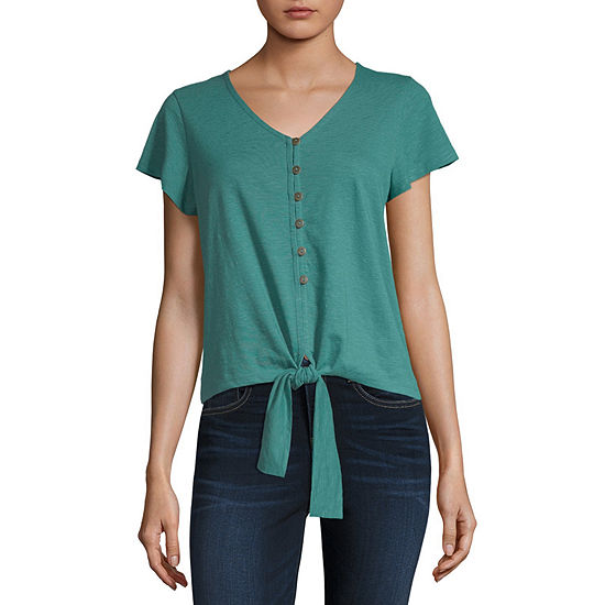 a.n.a Womens V Neck Short Sleeve Knit Blouse