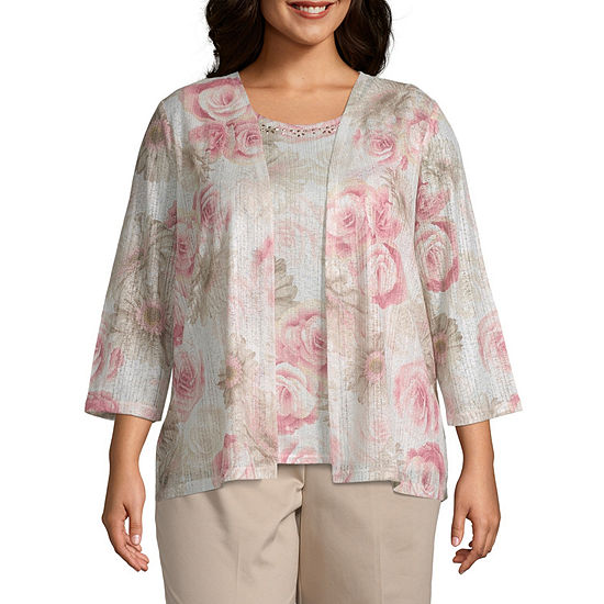Society Page Alfred Dunner Floral Layered Blouse Plus