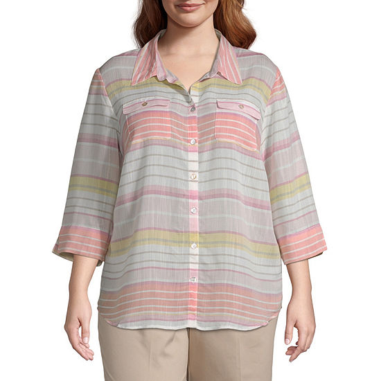 Society Page Alfred Dunner Stripe Shirt - Plus