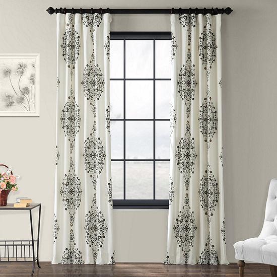 Exclusive Fabrics & Furnishing Kerala Printed 100% Cotton Energy Saving Light-Filtering Rod-Pocket/Back-Tab Single Curtain Panel