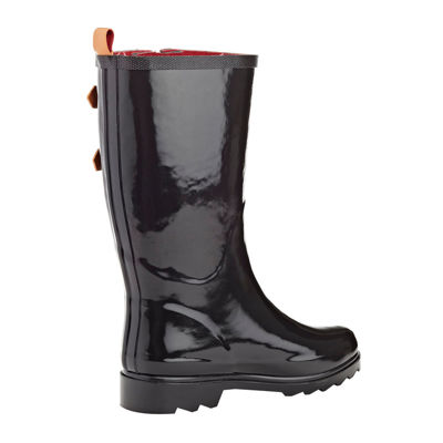 Henry Ferrera Black Stone Belted Mid-Calf Rain Boots