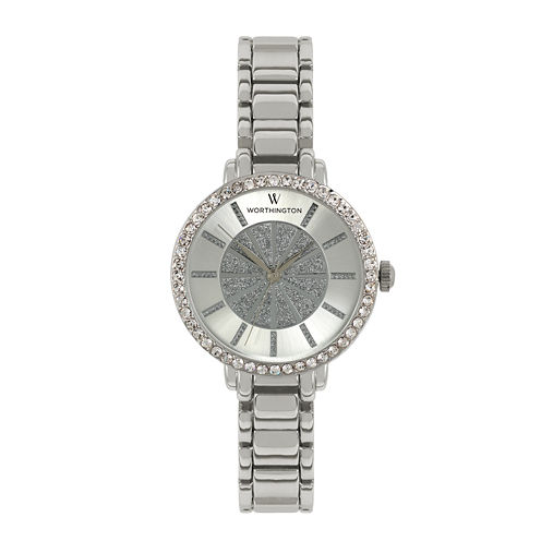 Worthington® Ladies Silvertone Glitter Dial Bracelet WWatches