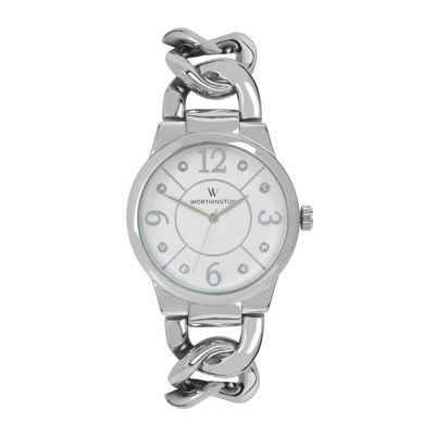 Worthington® Womens Silver-Tone Link Bracelet Watch