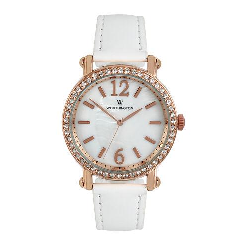 Worthington® Womens Rose Gold-Tone & White Strap Watch