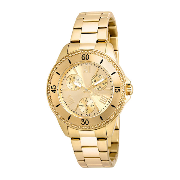 Invicta® Angel Lady Stainless Steel Gold Tone Gold Dial Bracelet Watches