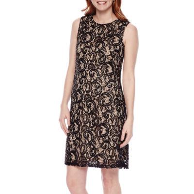Scarlett Sleeveless High-Neck Lace Swing Dress
