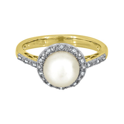 Freshwater Pearl & Lab-Created Sapphire 14K Yellow Gold Over Silver Ring