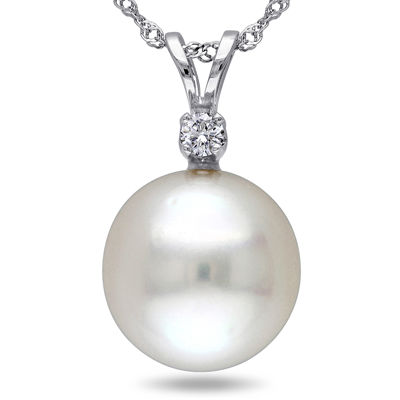 Genuine South Sea Pearl and Diamond Accent Pendant